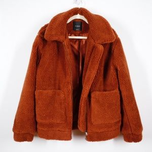 Elodie Burnt Orange Sherpa Teddy Coat Small